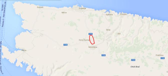 Brac_map_road_Nerezisca